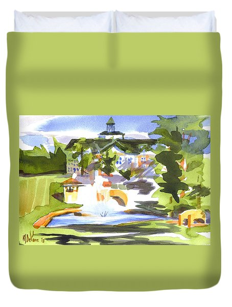 Beautiful Day At The Baptist Home Of The Ozarks In Watercolor Duvet Cover by Kip DeVore