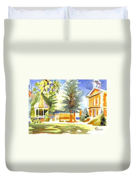 Beautiful Day On The Courthouse Square Duvet Cover by Kip DeVore