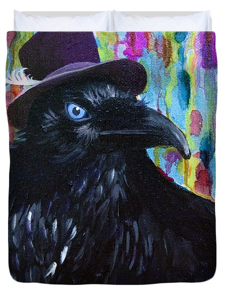 Beautiful Dreamer Black Raven Crow 8x10 Mixed Media By Jaime Haney Duvet Cover
