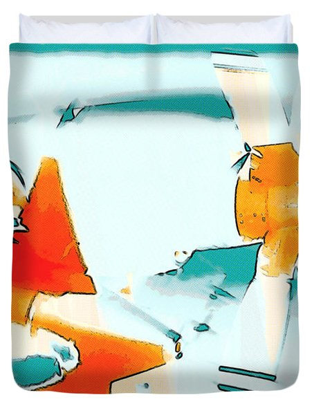 Duvet Cover featuring the photograph Fixed Wing Aircraft Pop Art by R Muirhead Art