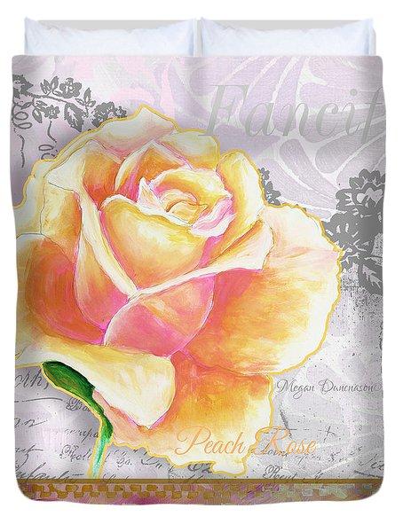 Beautiful Floral Peach Rose Original Flower Painting By Megan Duncanson Duvet Cover by Megan Duncanson