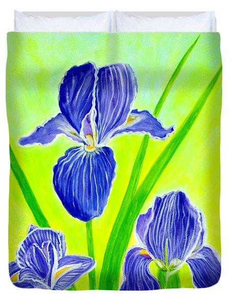 Beautiful Iris Flowers Card Duvet Cover