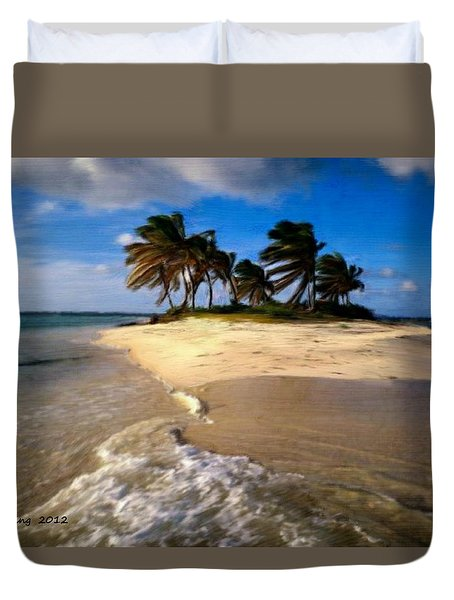 Duvet Cover featuring the painting Beautiful Island by Bruce Nutting
