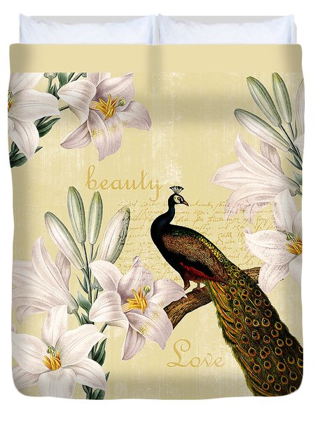 Beautiful Lilies Peacock Duvet Cover by P S