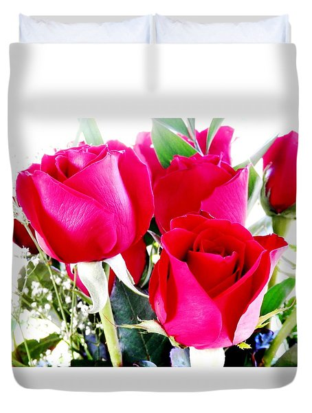 Beautiful Neon Red Roses Duvet Cover by Belinda Lee