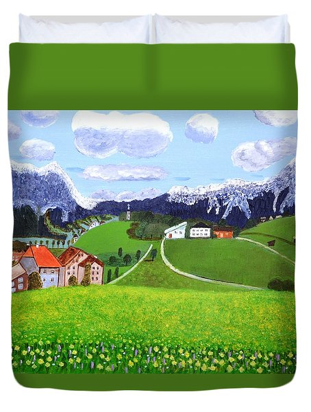 Duvet Cover featuring the painting Beautiful Norway by Magdalena Frohnsdorff