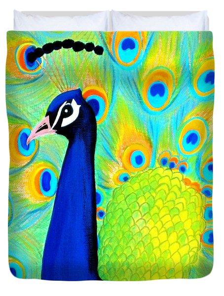 Beautiful Peacock Card Duvet Cover