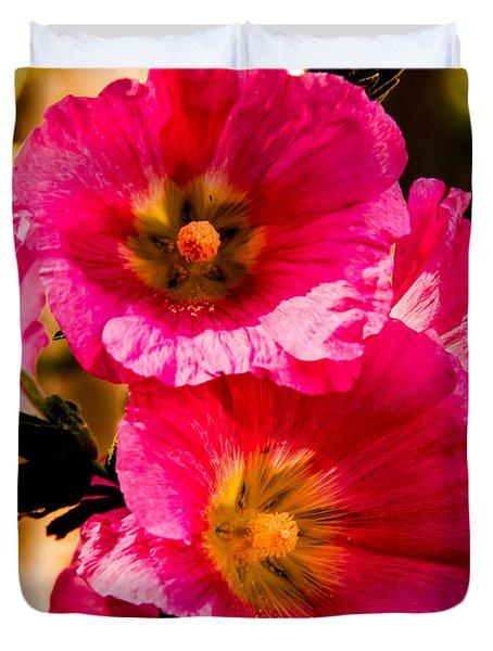Beautiful Pink Hollyhock Duvet Cover