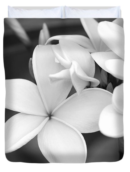 Beautiful Plumeria In Black And White Duvet Cover