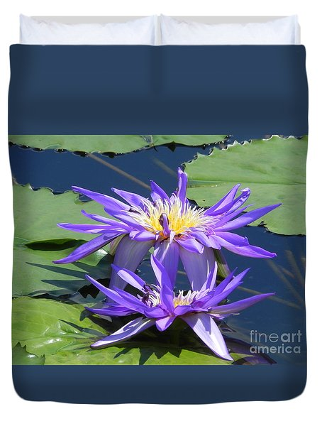 Duvet Cover featuring the photograph Beautiful Purple Lilies by Chrisann Ellis