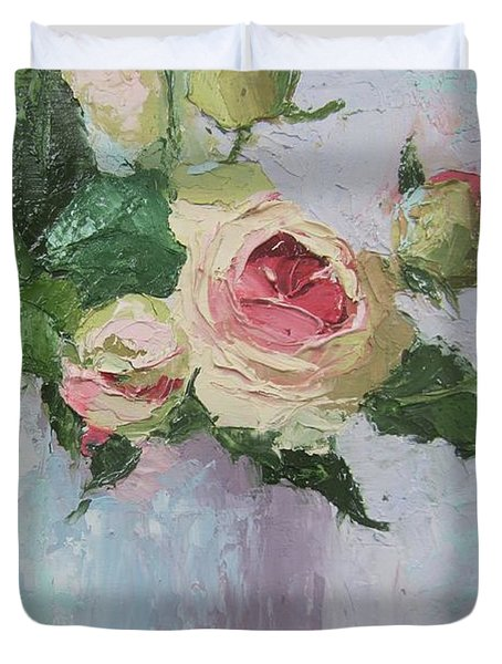 Beautiful Roses Oil Palette Knife Painting Duvet Cover