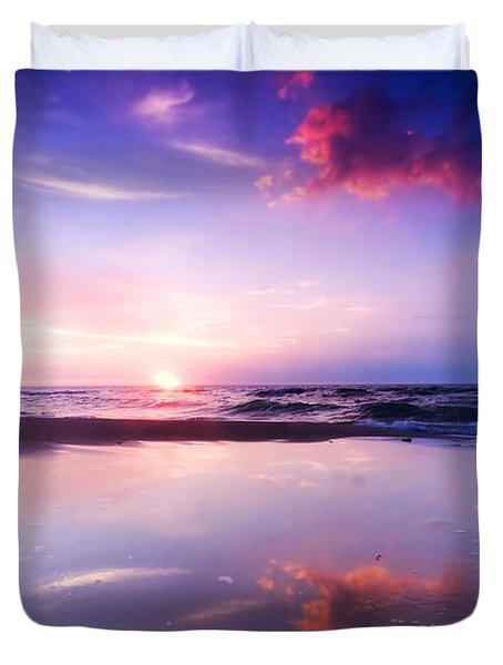 Beautiful Sea Sunrise Duvet Cover by Michal Bednarek