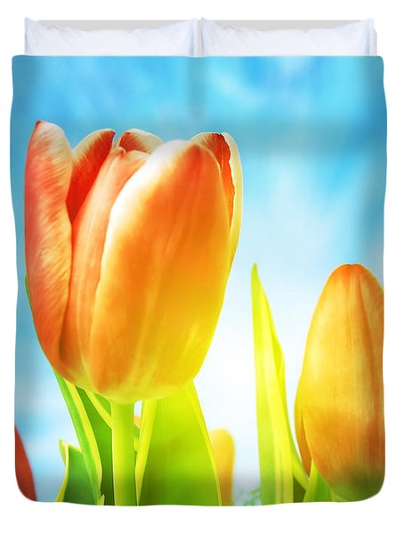 Beautiful Spring Tulips Background Duvet Cover by Michal Bednarek