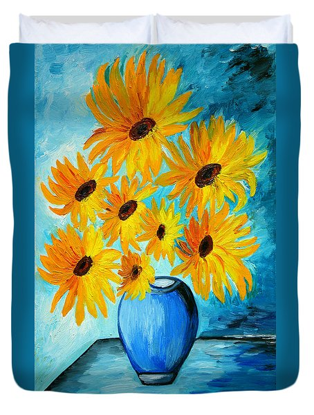 Beautiful Sunflowers In Blue Vase Duvet Cover