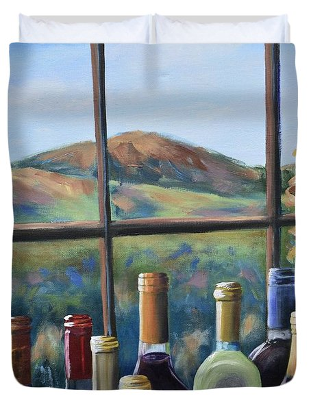 Duvet Cover featuring the painting Beautiful View by Donna Tuten