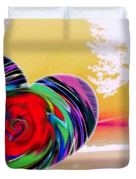 Duvet Cover featuring the digital art Beautiful Views Exist by Catherine Lott
