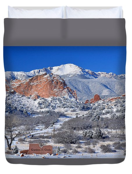Beautiful Winter Garden Of The Gods Duvet Cover by John Hoffman