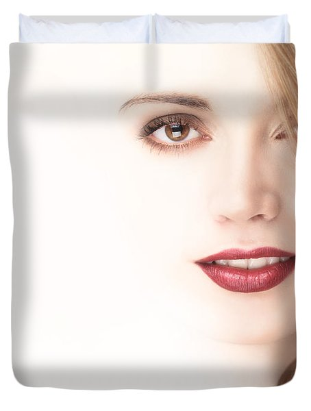 Beautiful Young Woman Face Blending Into Light Background Duvet Cover by Oleksiy Maksymenko