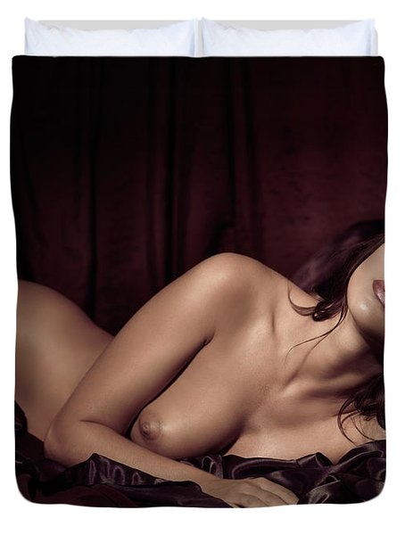 Beautiful Young Woman Lying Naked In Bed Duvet Cover by Oleksiy Maksymenko