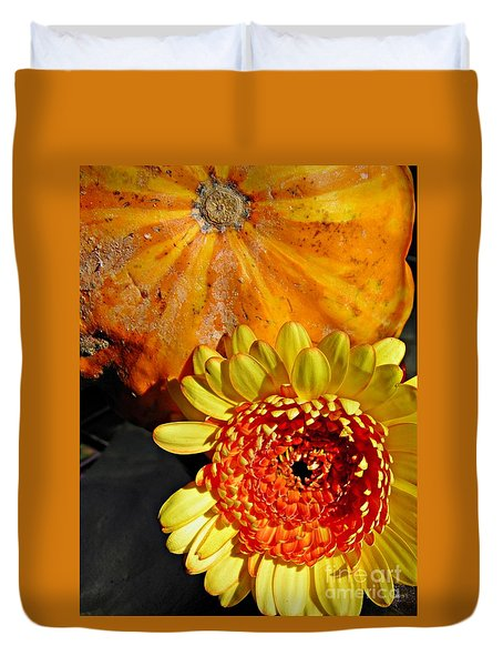 Beauty And The Squash 2 Duvet Cover by Sarah Loft