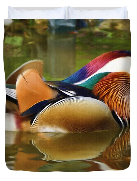 Beauty In The Pond Duvet Cover by Ayse Deniz