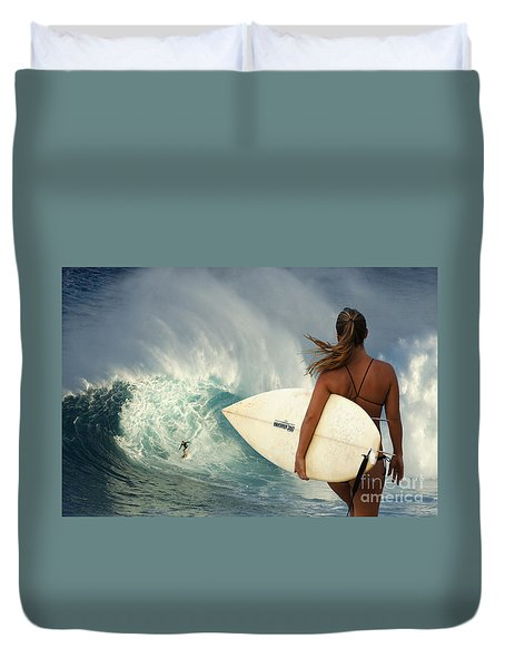 Surfer Girl Meets Jaws Duvet Cover