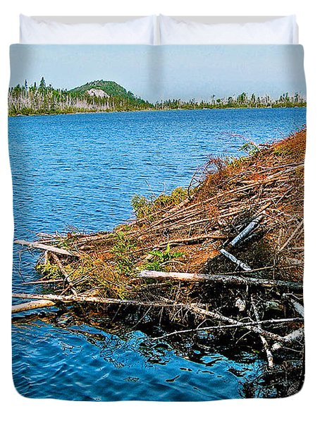 Beaver Lodge On Berry Hill Pond On Baker's Brook Trail In Gros M Duvet Cover