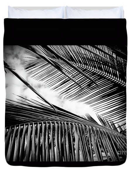 Duvet Cover featuring the photograph Maui Paradise Palms Hawaii Monochrome by Sharon Mau