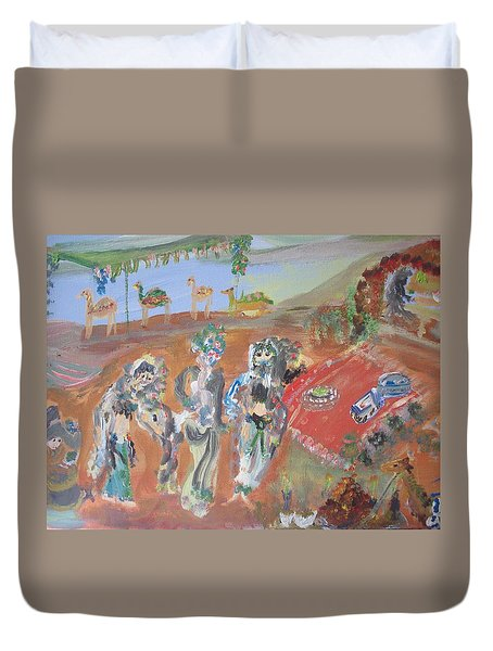 Duvet Cover featuring the painting Bedouin Camel Dance by Judith Desrosiers