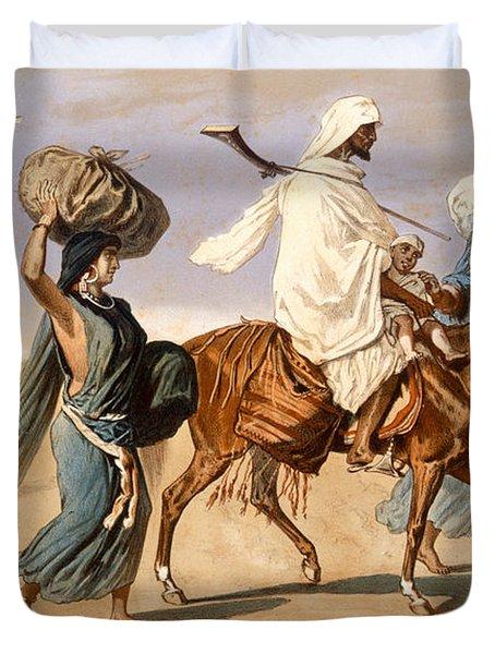 Bedouin Family Travels Across The Desert Duvet Cover by Henri de Montaut