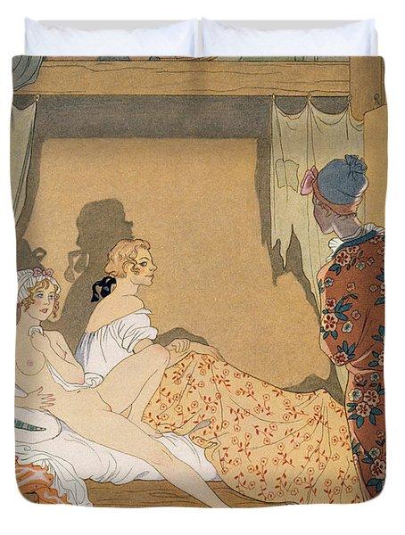 Bedroom Scene Duvet Cover by Georges Barbier