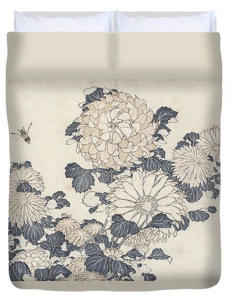 Bee And Chrysanthemums Duvet Cover
