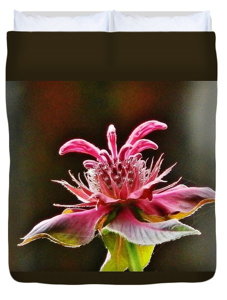 Duvet Cover featuring the photograph Bee Balm's Beauty by VLee Watson