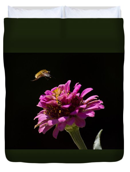 Bee Fly In Flight Duvet Cover by Shelly Gunderson