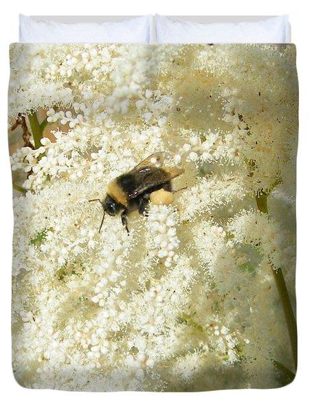 Bee Gathering Pollen Duvet Cover