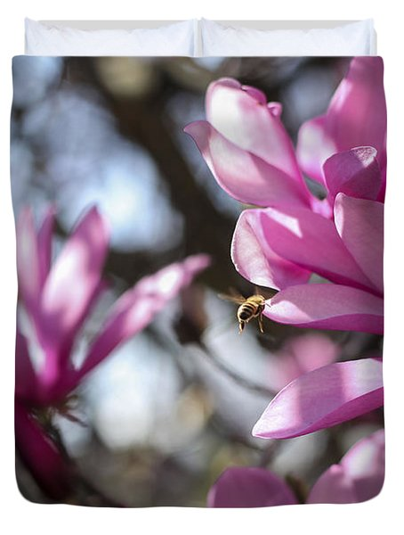 Duvet Cover featuring the photograph Bee In Flight by Amber Kresge