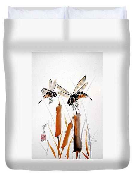 Duvet Cover featuring the painting Bee-ing Present by Bill Searle