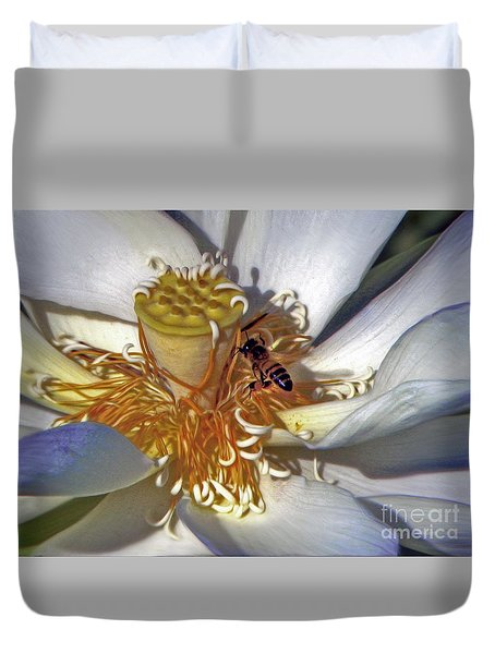 Bee On Lotus Duvet Cover