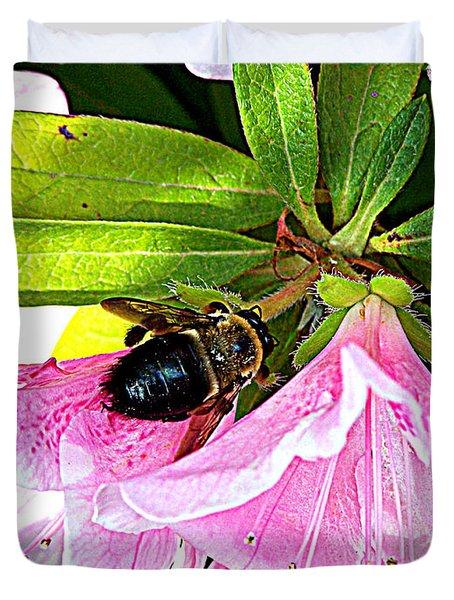 Bee On  Pink Azalea Duvet Cover