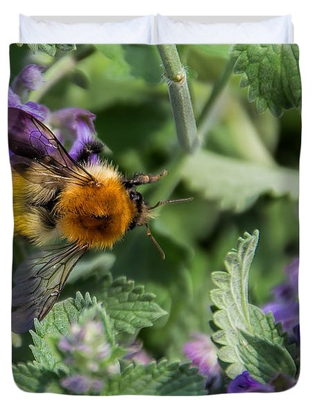 Duvet Cover featuring the photograph Bee Too by David Gleeson