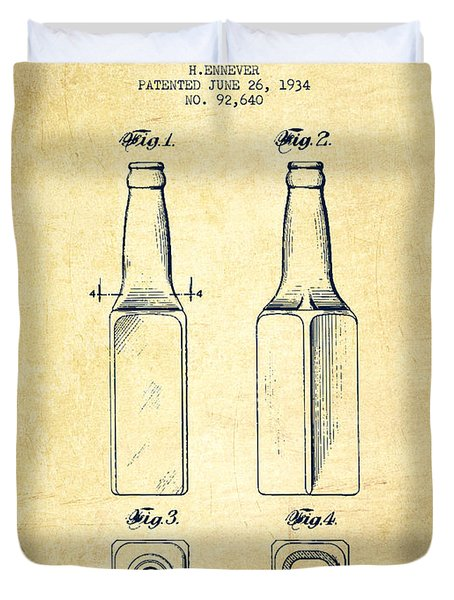 Beer Bottle Patent Drawing From 1934 - Vintage Duvet Cover