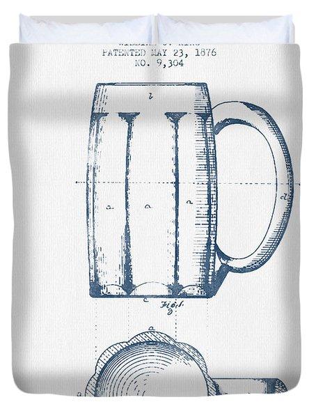 Beer Mug Patent From 1876 -  Blue Ink Duvet Cover