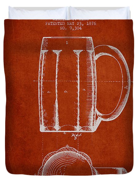 Beer Mug Patent From 1876 - Red Duvet Cover by Aged Pixel