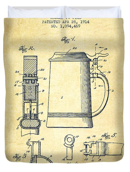 Beer Stein Patent From 1914 -vintage Duvet Cover by Aged Pixel