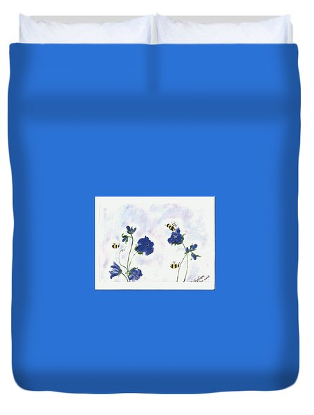 Bees At Lunch Time Duvet Cover by Francine Heykoop