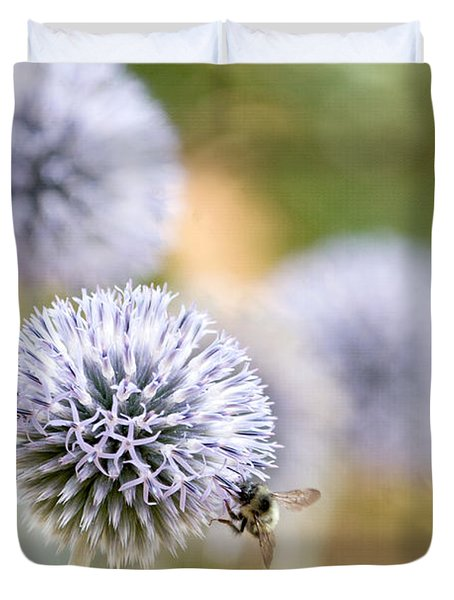 Duvet Cover featuring the photograph Bees In The Garden by Peggy Collins