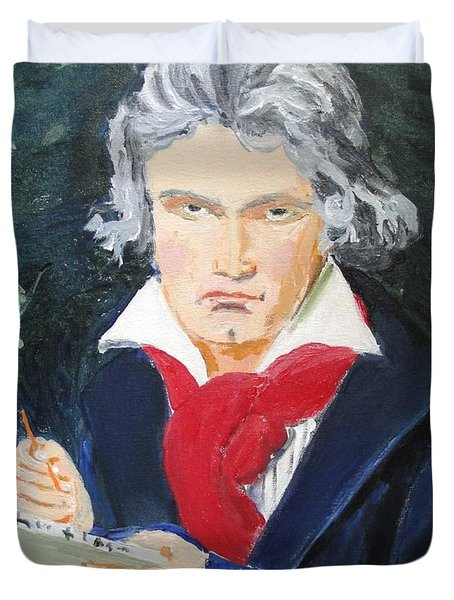 Duvet Cover featuring the painting Beethoven by Judy Kay