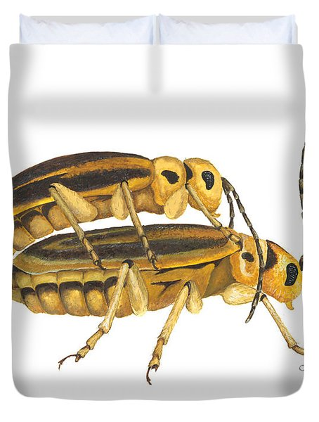 Chrysomelid Beetle Mating Pose Duvet Cover