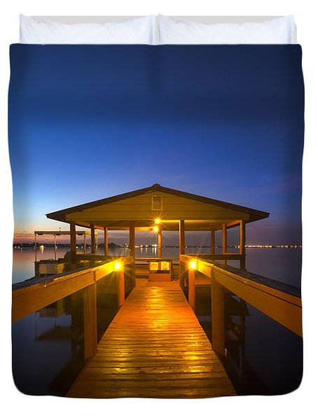 Before Dawn At The Dock Duvet Cover by Debra and Dave Vanderlaan