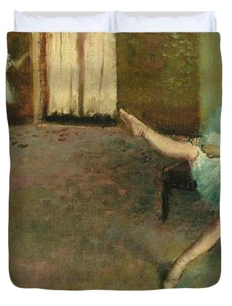 Before The Ballet Duvet Cover by Edgar Degas